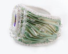 Bracelet Bead Bridal Embroidered Shibori Silk by SvitlanaGurinaArt