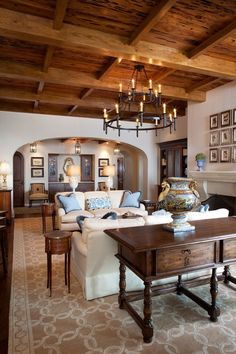 Living Room with Refined Rustic Lighting