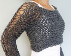 Knitting Pattern - Andra Cropped Thumb Hole Sweater/ SuperChunky Knit Soho Cropped Top