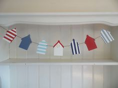 Red, white and blue, striped and plain Beach Hut bunting. Beach Huts, Garlands, Bunting, Clothes Hanger, Bespoke, Seaside, Nautical, Hand Painted, Bed