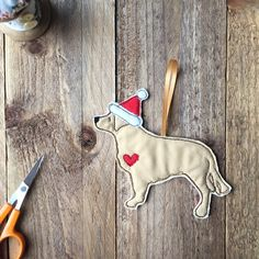 Golden Retriever Christmas gift, embroidered fabric dog Christmas Tree Decoration, retriever tree ornament, dog bauble by BeaglenThread on Etsy
