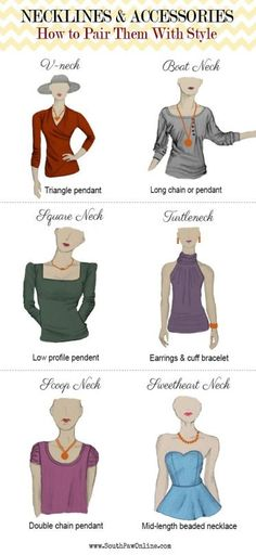 Necklines and Accessories: Pairing them with style. Infography. Cleavages with accessories.