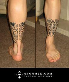 lower leg band tribal tattoo design in mauri style