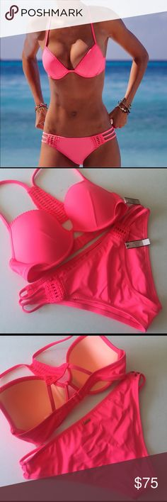Victorias Secret Fabulous Crochet Trim Bikini Set NWT Victorias Secret Pink Crochet Trim Bikini Set. Brand new with all tags and pantyliners attached. ❤️VICTORIAS SECRET HAS DISCONTINUED THEIR SWIMWEAR SO GET YOURS WHILE ITS AVAILABLE! Victorias Secret Swim Bikinis