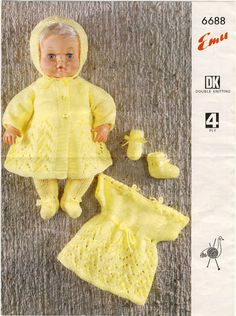 """Emu knitting pattern 6688. Lovely vintage doll knitting pattern from the late 1960's. Outfit to fit a 16"""" Tiny Tears doll (chest 11 inches). Instructions for knickers and vest, dress, bootees, bonnet, leggings and coat."""