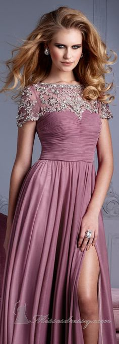 Beaded Short Sleeves Gown by Terani Couture Evening