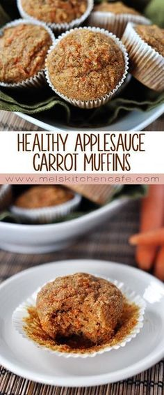 These healthy applesauce carrot muffins are low in fat, low in refined sugar and packed with applesauce and carrots. These healthy applesauce carrot muffins are low in fat, low in refined sugar and packed with applesauce and carrots. Healthy Muffins, Healthy Sweets, Healthy Baking, Healthy Snacks, Healthy Recipes, Carrot Recipes, Health Muffin Recipes, Gluten Free Carrot Muffins, Low Calorie Muffins