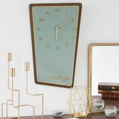SEVENTIES blue clock 30 x 48 cm