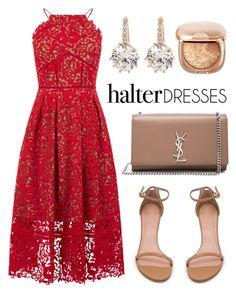 """halter dresses"" by claribelelarkins ❤ liked on Polyvore featuring Warehouse, Yves Saint Laurent, Stuart Weitzman and vintage"