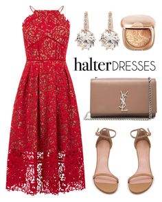 """halter dresses"" by asiatic-salaam ❤ liked on Polyvore featuring Warehouse, Yves Saint Laurent, Stuart Weitzman and vintage"