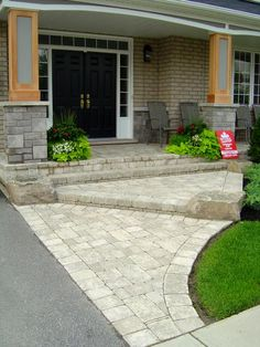 Look at this essential illustration and browse through the here and now points on Mulch Landscaping Ideas Diy Front Walkway Landscaping, Front Yard Walkway, Front Porch Steps, Brick Walkway, Outdoor Landscaping, Outdoor Decor, Landscaping Ideas, Front Path, Patio Stone