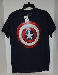 Captain America T Shirt Winter Soldier Foil Shield Med SS Blue NWT #Marvel #GraphicTee