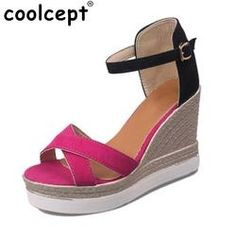 251cb08ad Sexy Female Wedges Sandal Women Platform Ankel Strap Sandals Peep Toe High  Wedge Summer Shoes Vacation