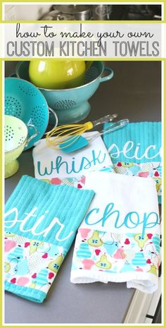 make your own design of custom kitchen towels - such a fun diy for a gift idea!! - - Sugar Bee Crafts