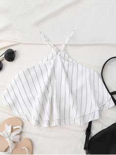 $18.99 Halter Striped Crop Chiffon Top - WHITE S