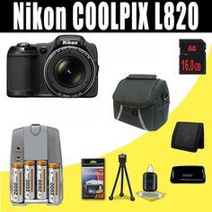 Nikon COOLPIX 16 MP Digital Camera with 30x Zoom (Black) mAh 4 AA Pack NiMH Rechargeable Batteries and Charger   16GB SDHC Class 10 Memory Card   Carrying Case   SDHC Card USB Reader   Memory Card Wallet   Deluxe Starter Kit Bundle DavisMAX Accessory Kit L820 2600 ** undefined #DSLRCameraBundles