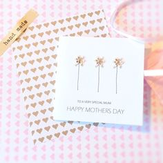 Happy Mothers Day card special mummy step mum from daughter Handmade flowers