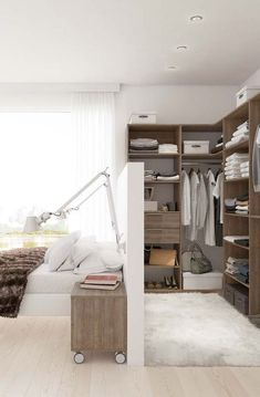 Walk Through Closet behind Bed Hack for Modern Home Closet Bedroom, Home Bedroom, Master Bedroom, Bedroom Decor, Small Bedroom Wardrobe, Closet Space, Small Bedroom Interior, Bedroom Ideas, Bedroom Hacks