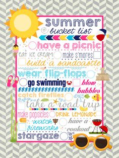{FREE} Summer Bucket List Printable. Take pics and make a scrap book :-)