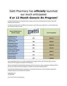 Here is a quick click of what we can offer you with the 6 or 12 Month Generic Rx Program!  If you have any more questions give us a call, visit our website (by simply clicking this picture) or just stop in!  724-349-4200 #gattipharmacy #health #IUP #save #money