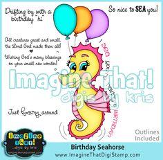 cute birthday seahorse - Digi stamp downloads