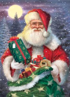 Christmas Scenes, Father Christmas, Santa Christmas, Winter Christmas, Vintage Christmas, Christmas Time, Xmas, Christmas Ornaments, Illustration Noel