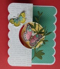 Front of Sizzix Flip it card. Hero arts butterfly stamp cut with matching thinlits die, colored with Faber Castell Gelatos, Hero Arts Spring Branch fancy die