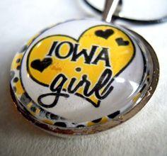 Iowa Hawkeye Girl High Bubble Pendant