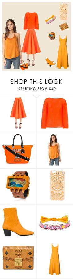 """orange peel"" by ramakumari ❤ liked on Polyvore featuring Maison Rabih Kayrouz, Issey Miyake, Moschino, L'Agence, Mistura, Felony Case, Dorateymur, Shourouk, MCM and TIBI"