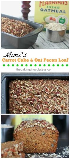 Mimi's Carrot Cake Oat Pecan Loaf is the Bomb! Made with 100% wholegrain Irish Oats, shredded carrots, roughly chopped pecans, cinnamon, nutmeg and applesauce are just a few key natural ingredients, mixed in with the usual suspects. via @https://www.pinterest.com/BaknChocolaTess/ Carrot Recipes, Bread Recipes, Cooking Recipes, Fun Desserts, Irish Desserts, Delicious Desserts, Dessert Recipes, Carrot Cake, Carrot Muffins