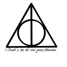 Deathly Hallows Tattoo on the back of my neck with a line going down to about mid back.