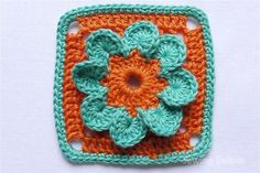 Beyond the Square ♥ Crochet Motif 114 - Sewing Daisies