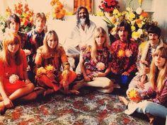 Jane Asher, Cynthia Lennon, Pattie Boyd, Jenny Boyd, with The Beatles and Maharishi, 1967.