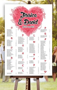 Wedding Seating Chart - RUSH SERVICE - Valentines Day Wedding Seating Chart - Roses Heart Tattoo - Digital Printable File HBC171 by HappyBlueCat on Etsy