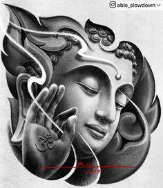 Able Slowdown ( Buddha Tattoo Design, Buddha Tattoos, Chest Tattoo Buddha, Tattoo Sketches, Tattoo Drawings, Tattoo Guerreiro, Best Sleeve Tattoos, Arm Tattoos, Simple Tattoos For Guys
