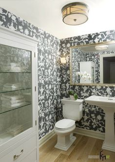 Powder Room Design, Pictures, Remodel, Decor and Ideas Great light fixture for hallway Powder Room Vanity, Powder Room Decor, Powder Room Design, Powder Rooms, Home Design, Design Ideas, Vancouver, Bathroom Wall Cabinets, Family Room Decorating