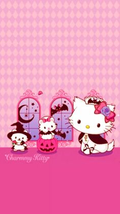 Charmmy Kitty with her pet hampters, Sugar. Hello Kitty Halloween, Kawaii Halloween, Hello Kitty Art, Hello Kitty Items, Sanrio Hello Kitty, Hello Kitty Pictures, Kitty Images, Cute Bento Boxes, Halloween Wallpaper