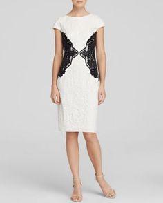 Tadashi Shoji Dress - Cap Sleeve Lace Color Block Sheath | Bloomingdale's