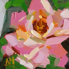 Pink Rose no. 12 Floral Art Print by Angela Moulton 6 x 6 inch