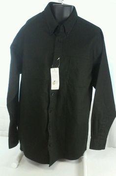 CORNER STONE MEN'S  BLACK LS WORK/DRESS SHIRT NANOtex FABRIC NEW size XL #CornerStone #ButtonFront