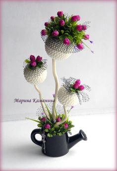 adorno con regadera y toparios Silk Flowers, Fabric Flowers, Paper Flowers, Art Floral, Floral Design, Handmade Crafts, Diy And Crafts, Teacup Crafts, Flower Ball