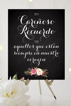 En Carinoso Recuerdo Sign - 8 x 10 signo de la boda - DIY Printable - Vintage chalkboard - PDF and JPG files - Instant Download