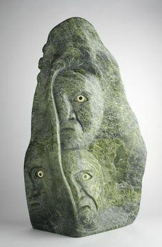 "Sculpture from Canadian Inuit Artists. Spirits Reaching Out - Toonoo Sharky (Cape Dorset). Serpentine 28""x17""x9"""