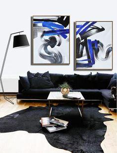 CZ ART DESIGN - Set of 2 minimalist Painting on canvas #S163, original fine art, pair painting. Black, white, blue.