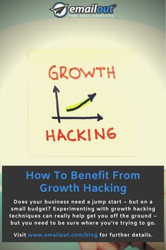 Does your business need a jump start – but on a small budget? Experimenting with growth hacking techniques can really help get you off the ground – but you need to be sure where you're trying to go. Free Email Marketing, Digital Marketing, Growth Hacking, New Market, Need To Know, Benefit, You Got This, Budgeting, Business
