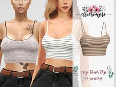 The Sims 4 Elliesimple - Crop Tank Top Sims 4 Teen, Sims Four, Sims 4 Mm, Sims 4 Mods Clothes, Sims 4 Clothing, Cropped Tank Top, Crop Tank, Tank Tops, The Sims 4 Pack