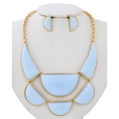 "Geometric Shaped Necklace Set Gold Tone / Lt.blue Acrylic / Lead&nickel Compliant / Post (earrings) / Statement / Necklace & Earring Set •   LENGTH : 16"" + EXT •   EARRING : 1/2"" X 1"" •   DROP : 2 1/2""  •   GOLD / BLUE R.E.A.L Jewelry Jewelry Necklaces"