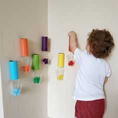 Throwing pompoms from the roll 💙💜💛❤💚 # urasyeşil # Cool Baby Sensory Play, Sensory Activities Toddlers, Montessori Activities, Infant Activities, At Home Toddler Activities, Baby Learning, Kids Learning Activities, 18 Month Activities, Montessori Toddler