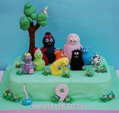 42 torte di Barbapapa con decorazioni in pasta di zucchero