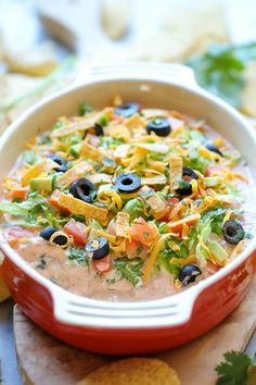 No time to assemble a seven-layer dip? Whip up this Skinny Taco Dip.  Lots of other dip recipes here as well.